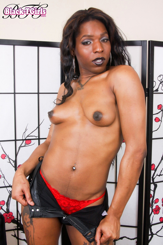 Amina Black Tranny Posing In Black Leather Pants