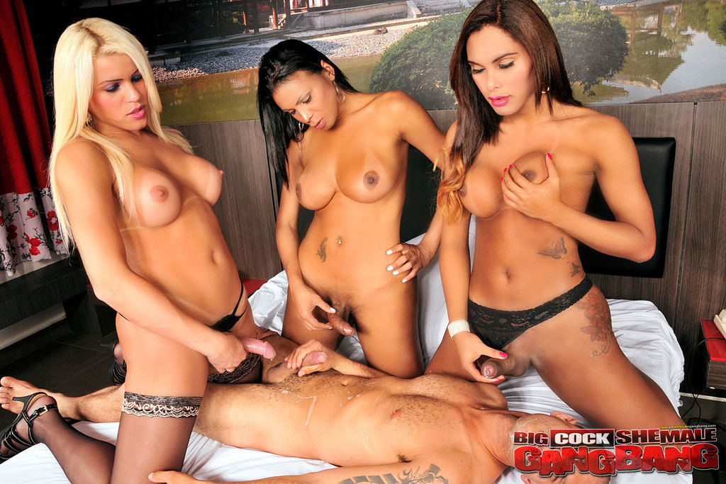 andrea de oliveira and her ladyboy friend banging a dude