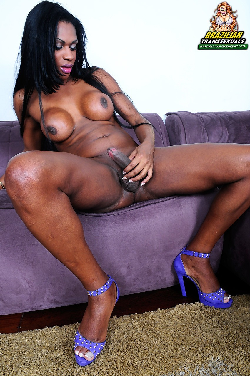 back transexual posing on sofa