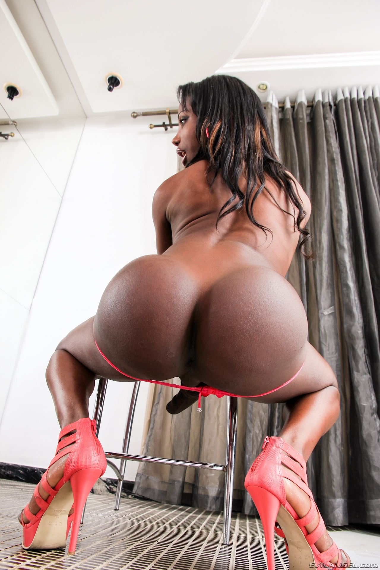 Black T-Girl Jessika Vallenssa In Hot Red Panties