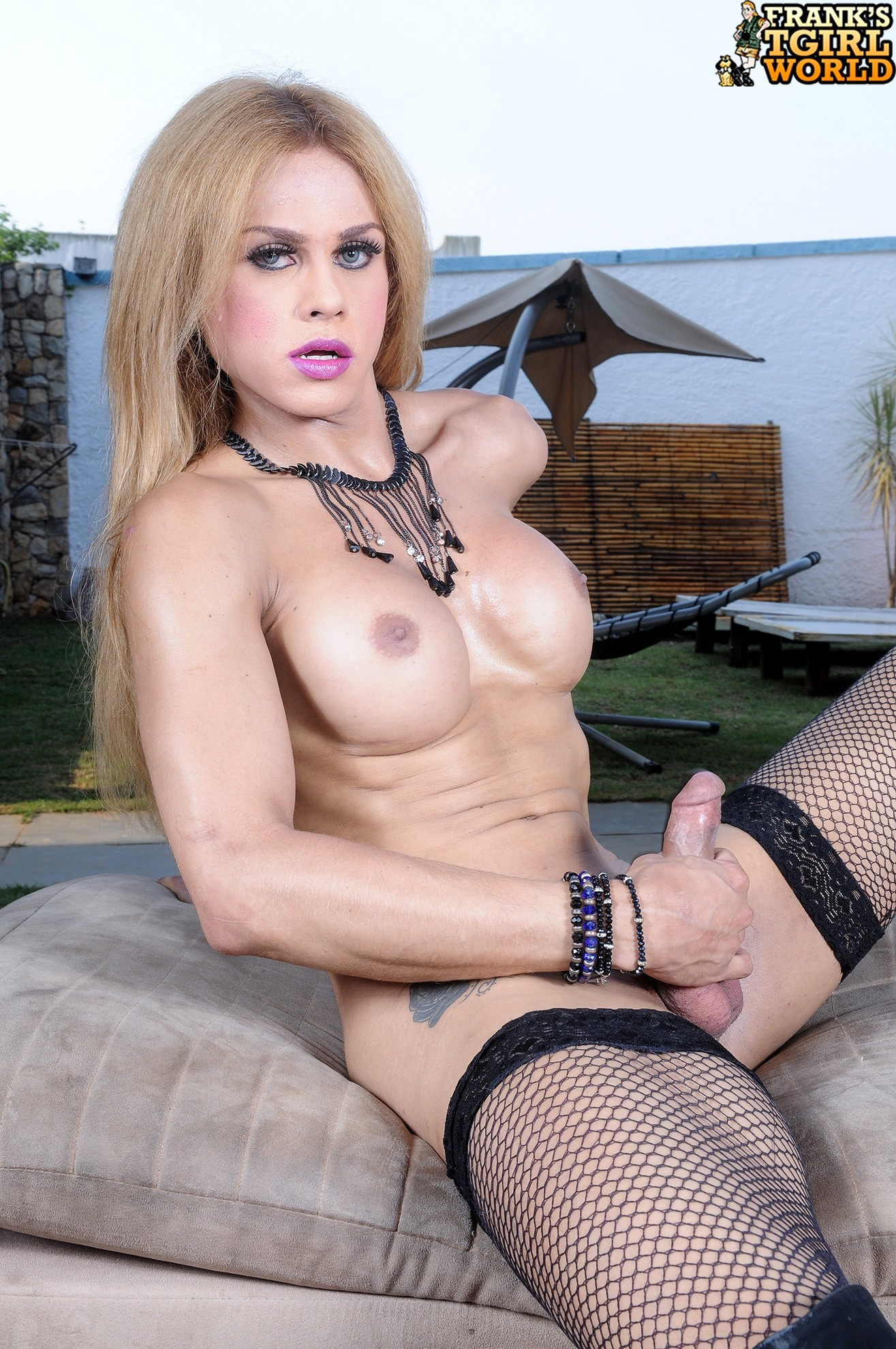 blonde ladyboy is hungry and voluptuous