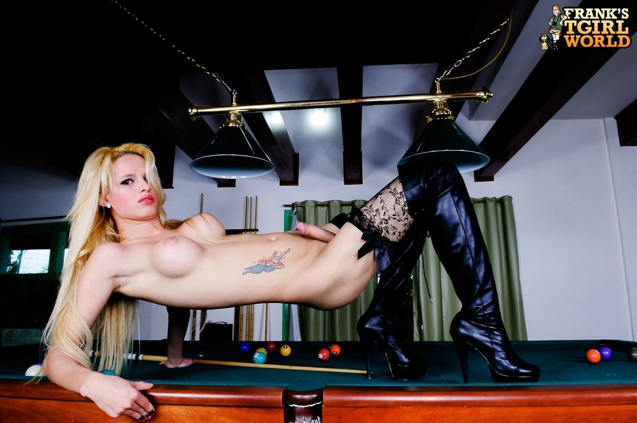 Blonde Tranny Babe Gets Naked