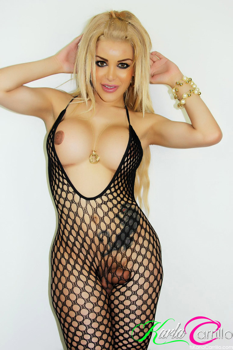 blonde transexual with enormous fake breasts