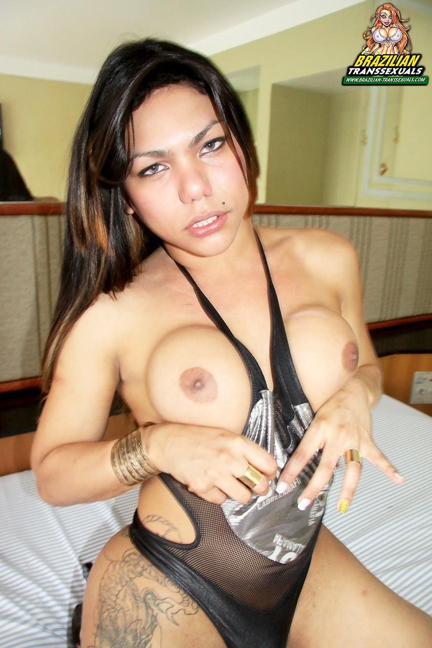 Bruna Azevedo Stroking Her Penis