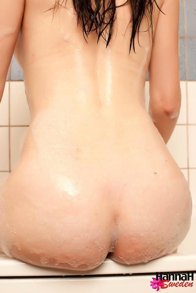 brunette femboy naked in the bathtub