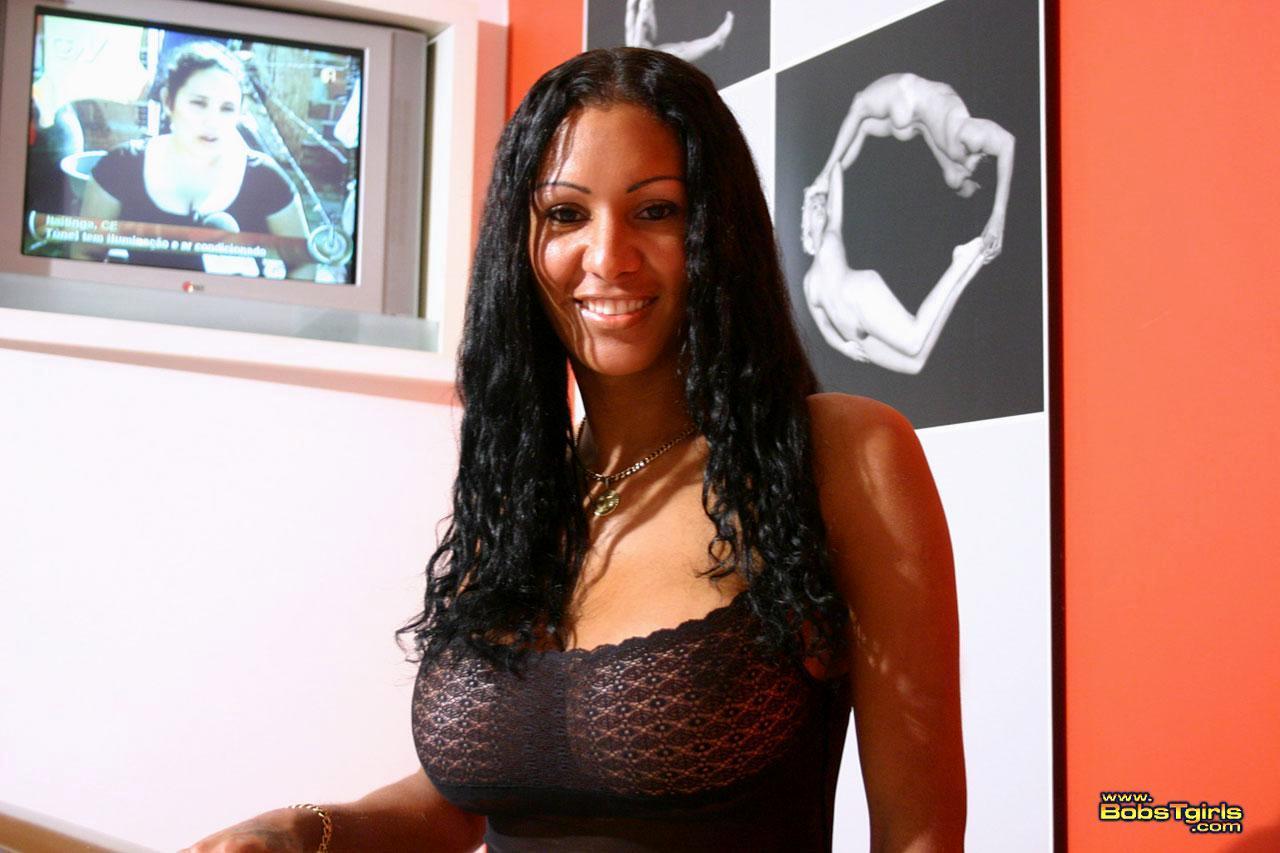 Busty Shemale Cristina Close In Inviting Black Unredwear