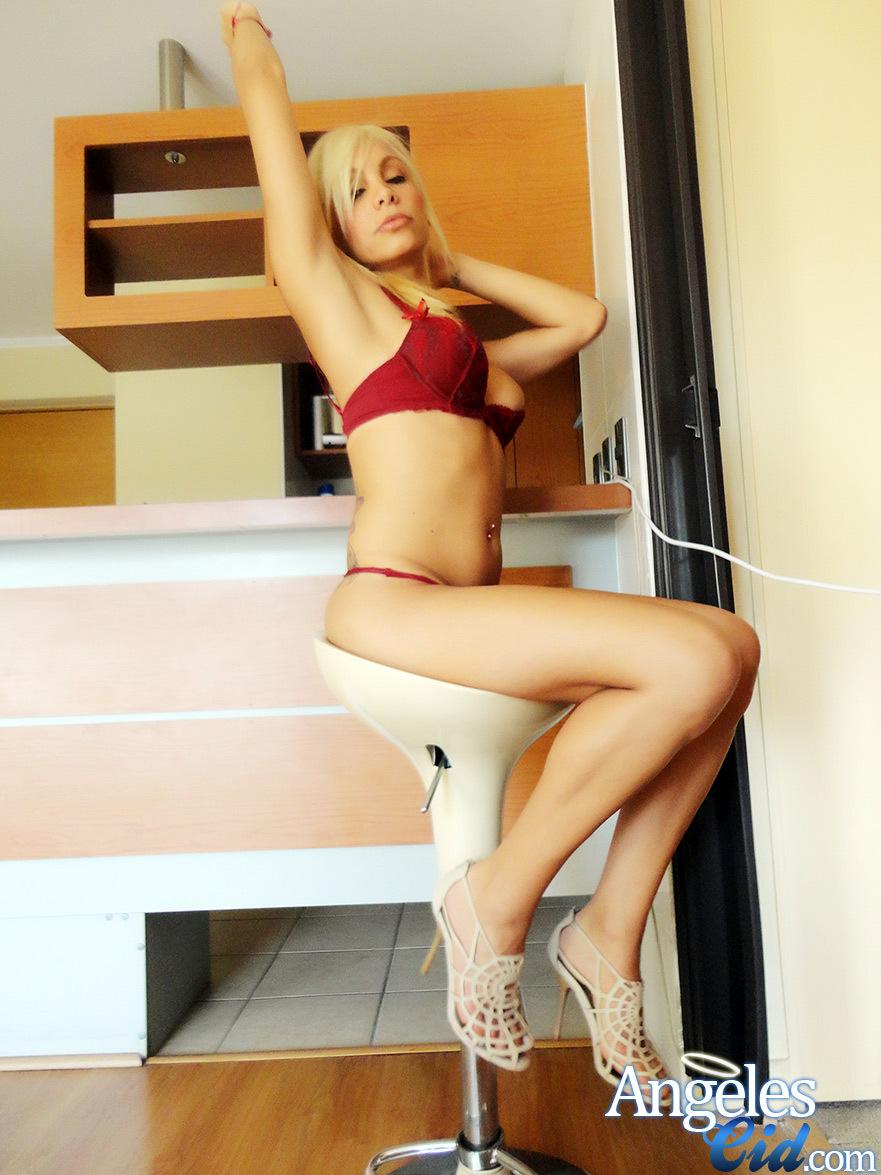 Curvy Ts Angeles Cid In Red Nasty Panties