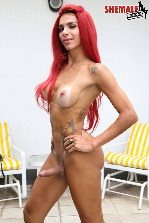 Fernanda Cristine Racy Redhaired Babe In The Garden