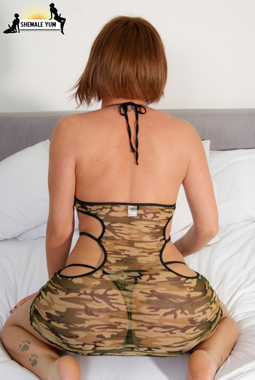 Flirtatious Ladyboy Slut Stacy Jackson In Army Printed Outfit