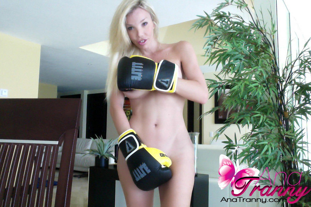 Gorgeous Transexual With Enormous Boobs Dressed As A Boxing Queen