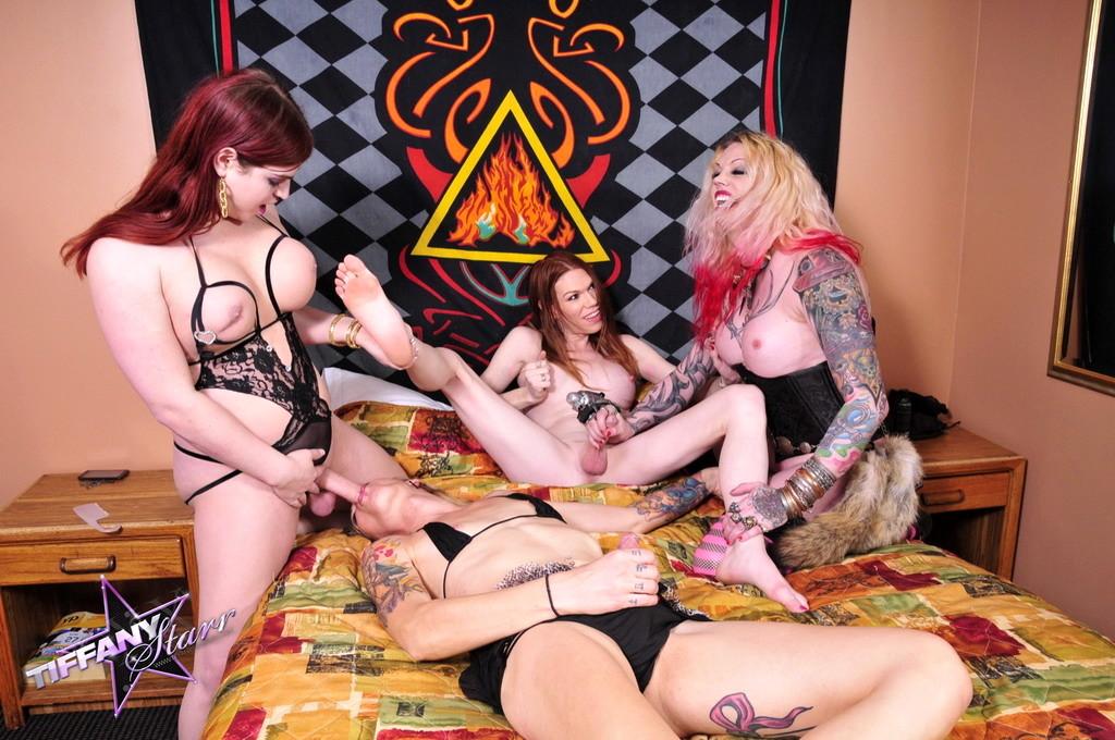 Horny Tiffany Screwing 3 Beautiful Femboys