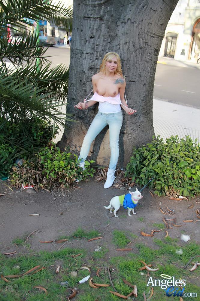 Innocent T-Girl Strolling Through The Park