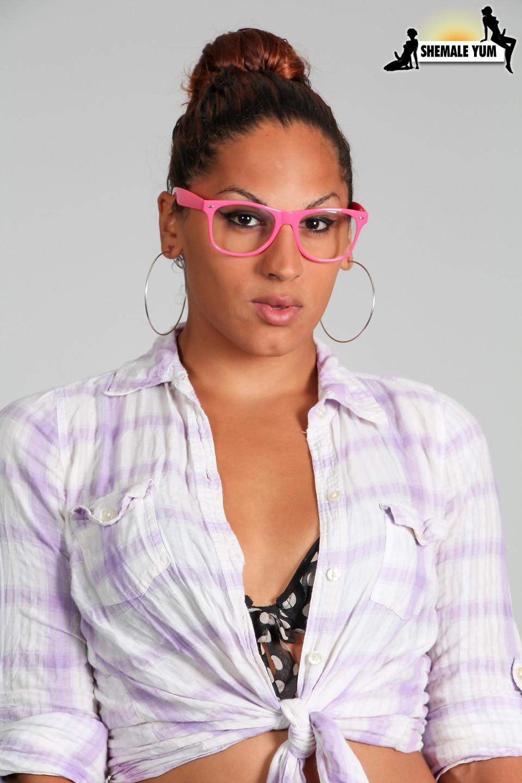 jadeira posing in steamy glasses and polka dot lingerie