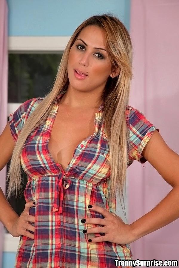 Juliana Souza Loosing Her Sensual Plaid Shirt