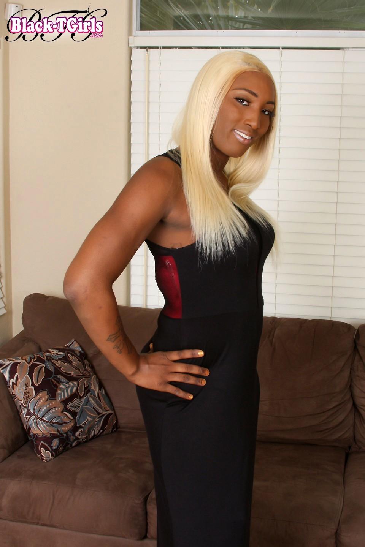 Kimmy Is Titillating Black Blonde Posing In Red Panties