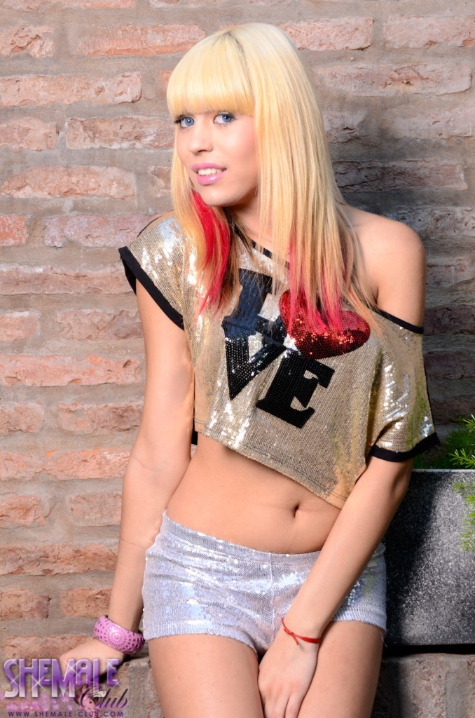 Kissable Blonde TGirl Eva Angelina Teasing