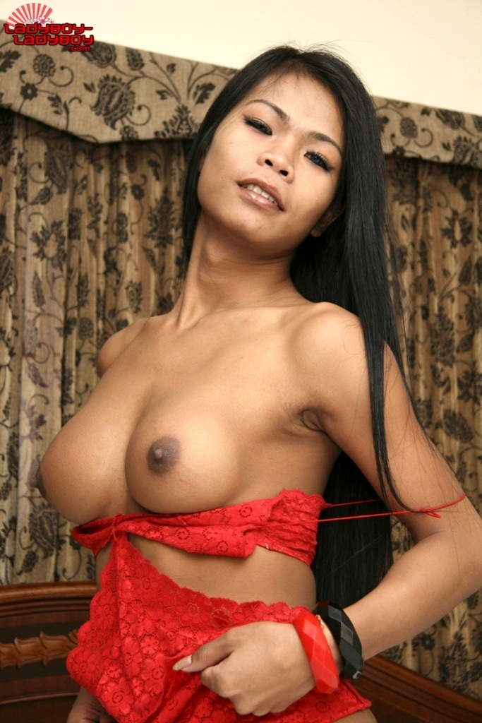 ladyboy paeng in red panties bra wanking on bed