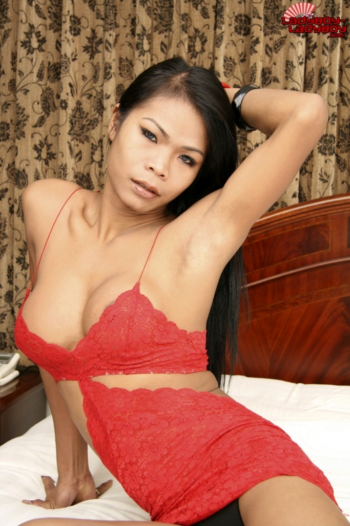 Ladyboy Paeng In Red Panties Bra Wanking On Bed