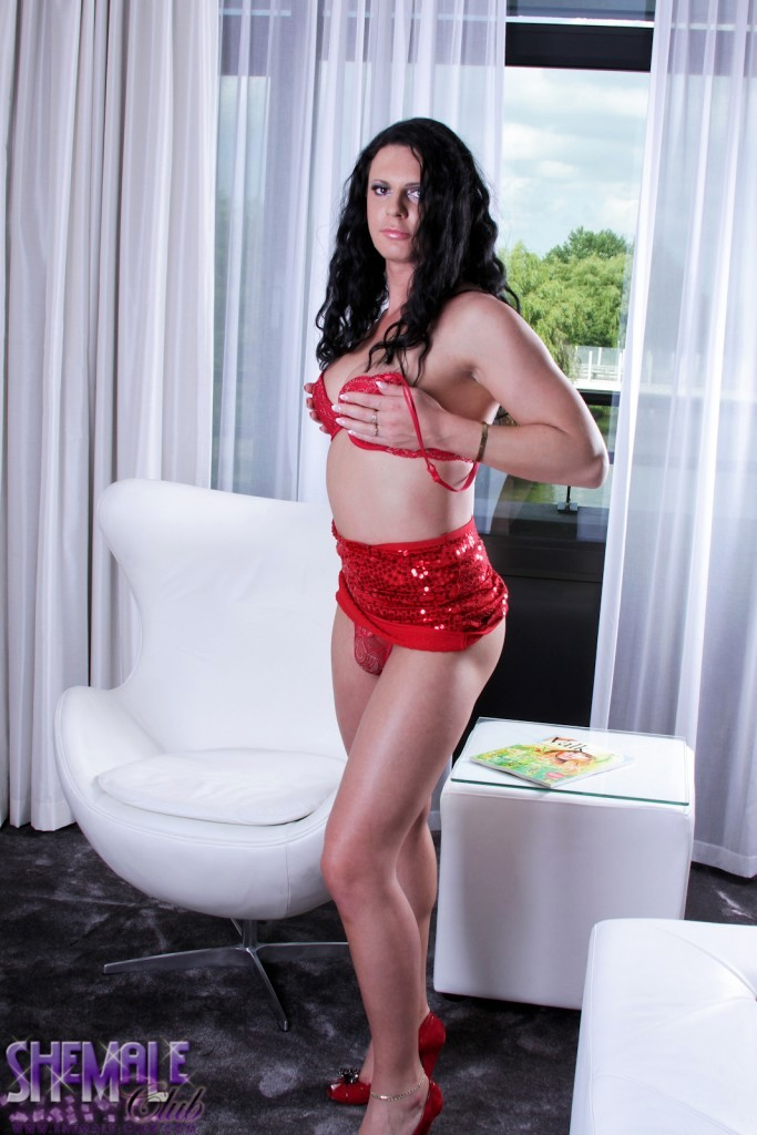 lina cavalli wanking her tool in red skirt