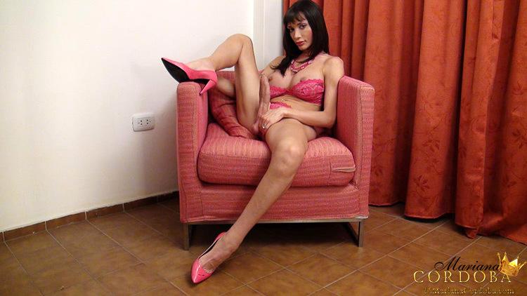 Naughty Hung T-Girl Mariana Cordoba Stripping On The Sofa