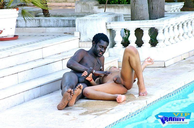 Nicolle - Racy Transexual Slurping Black Tool By Pool