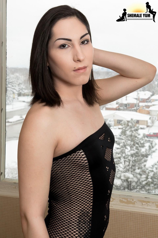 Pale Skin T-Girl Ms. Cumms In Tight Black Skirt