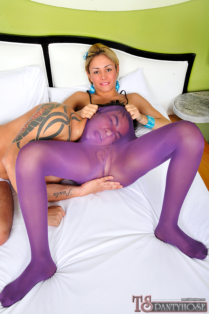 Paula Melo Banged In Purple Pantyhose