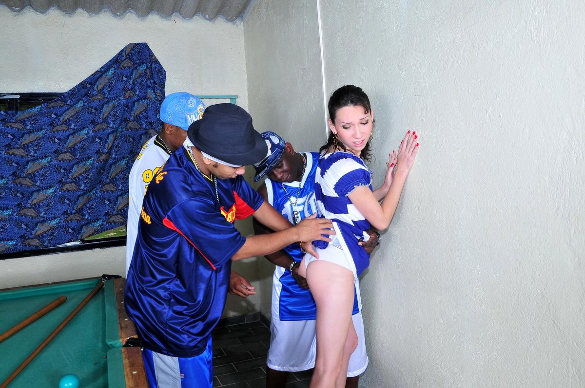 Sabrina Kamoei T-Girl Whore Gangbanged By 3 Black Guys