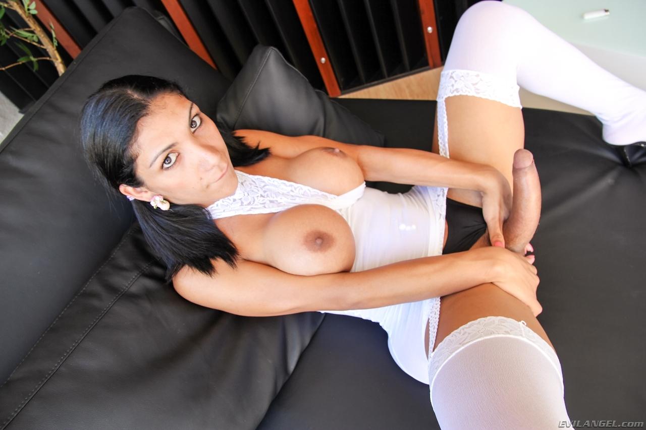 Sabrina Suzuki In White Exposing Her Penis