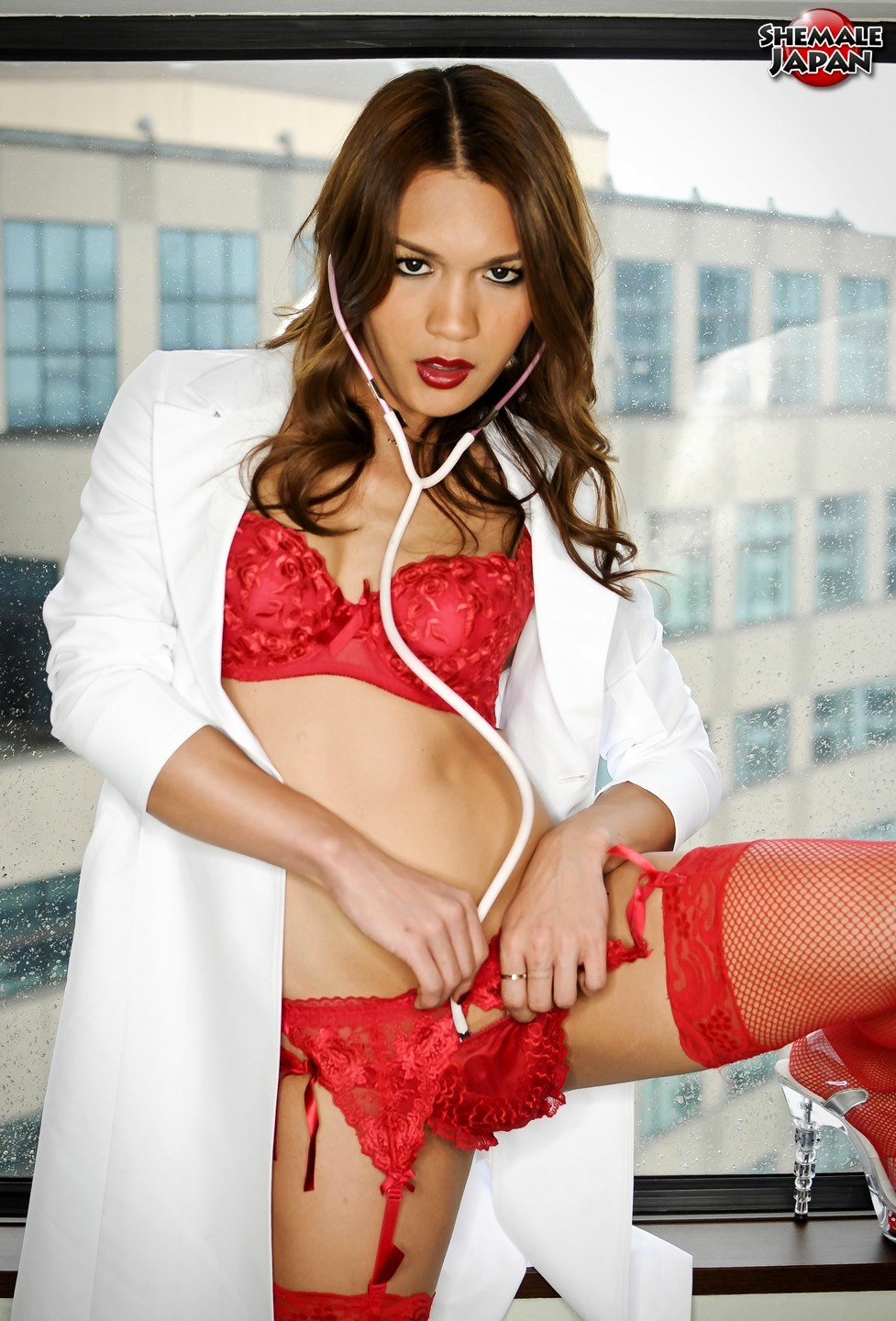 seductive newhalf nurse rion kawasaki has red panties