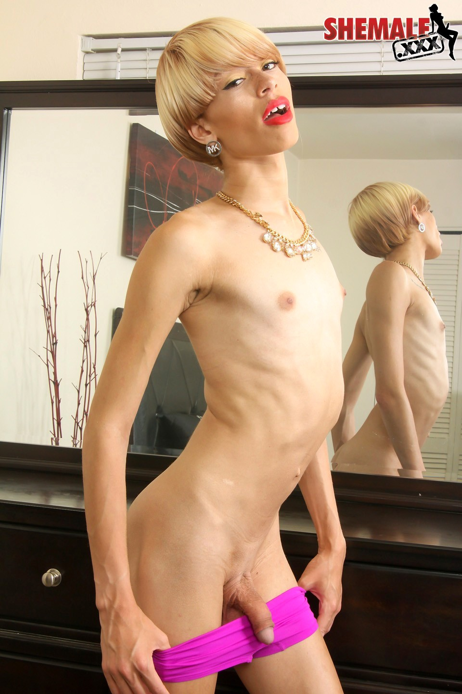 Sensual Blonde TGirl Ashley Stacks Posing By The Mirror