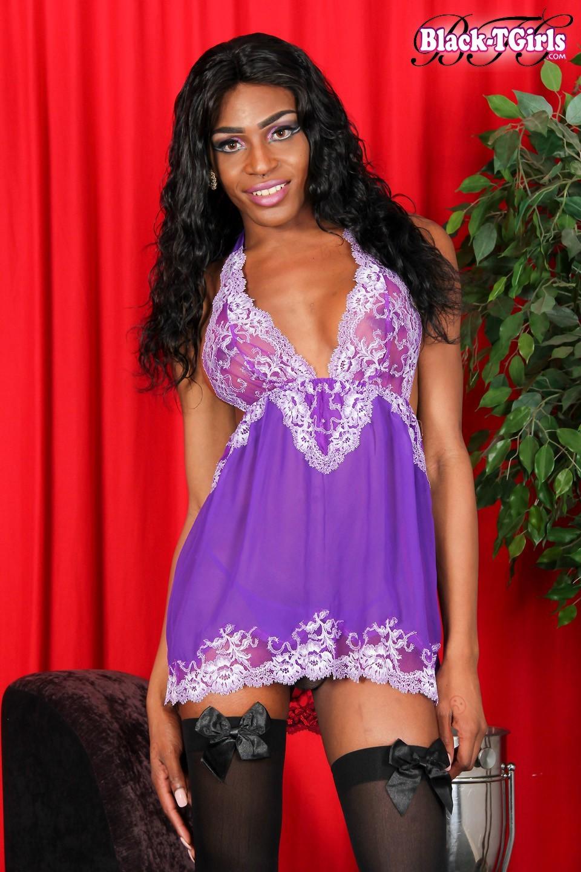 Serena Woods Wearing Stockings And Purple Panties