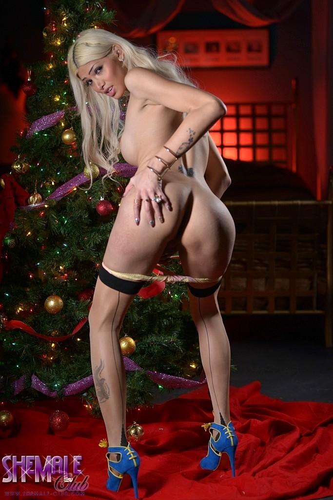 Sexy Jenna Spreads By The Xmas Tree