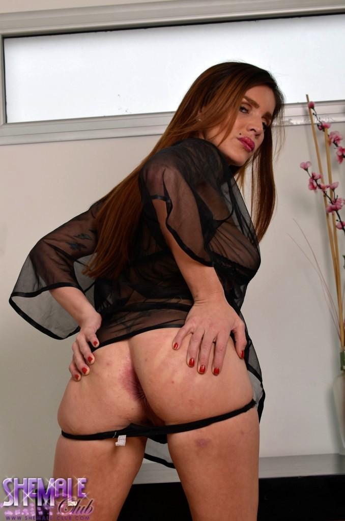 Slender T-Girl Azul In Black Panties