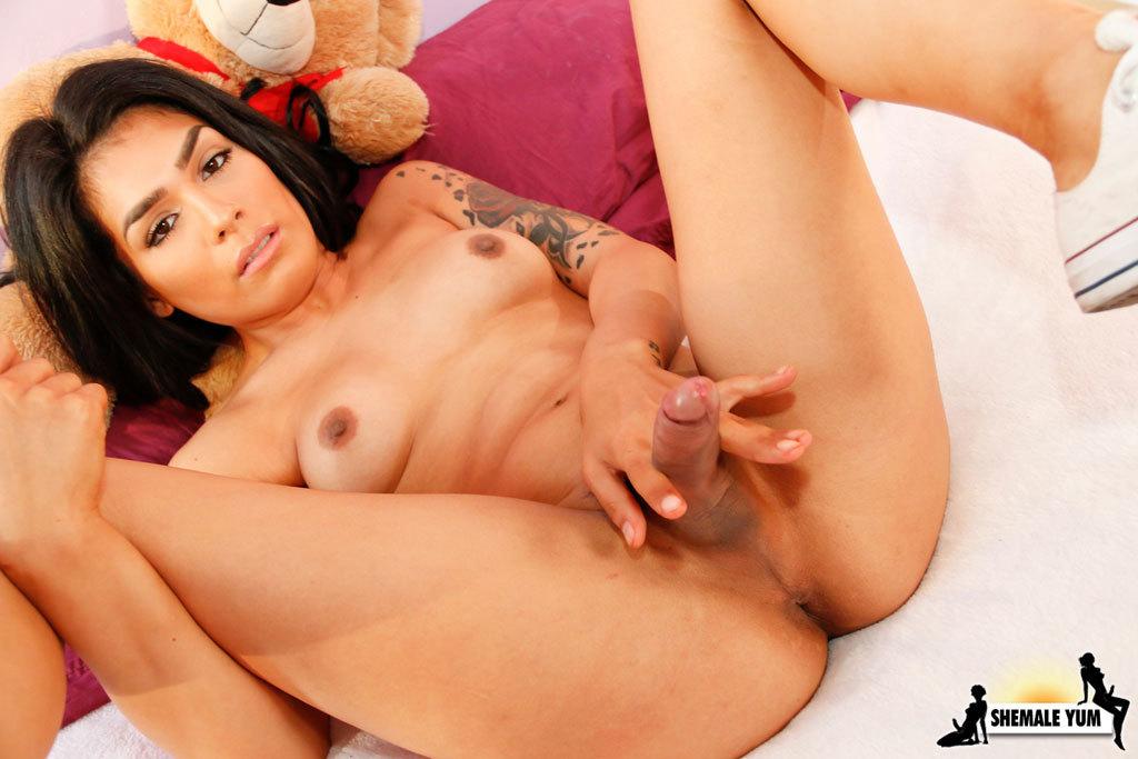 Sweet Ladyboy Playing With Teddy