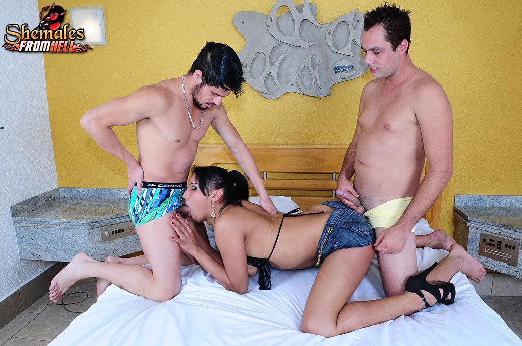 T-Girl Tamarah Camargo Eating Cock Two Dudes Rock Rough