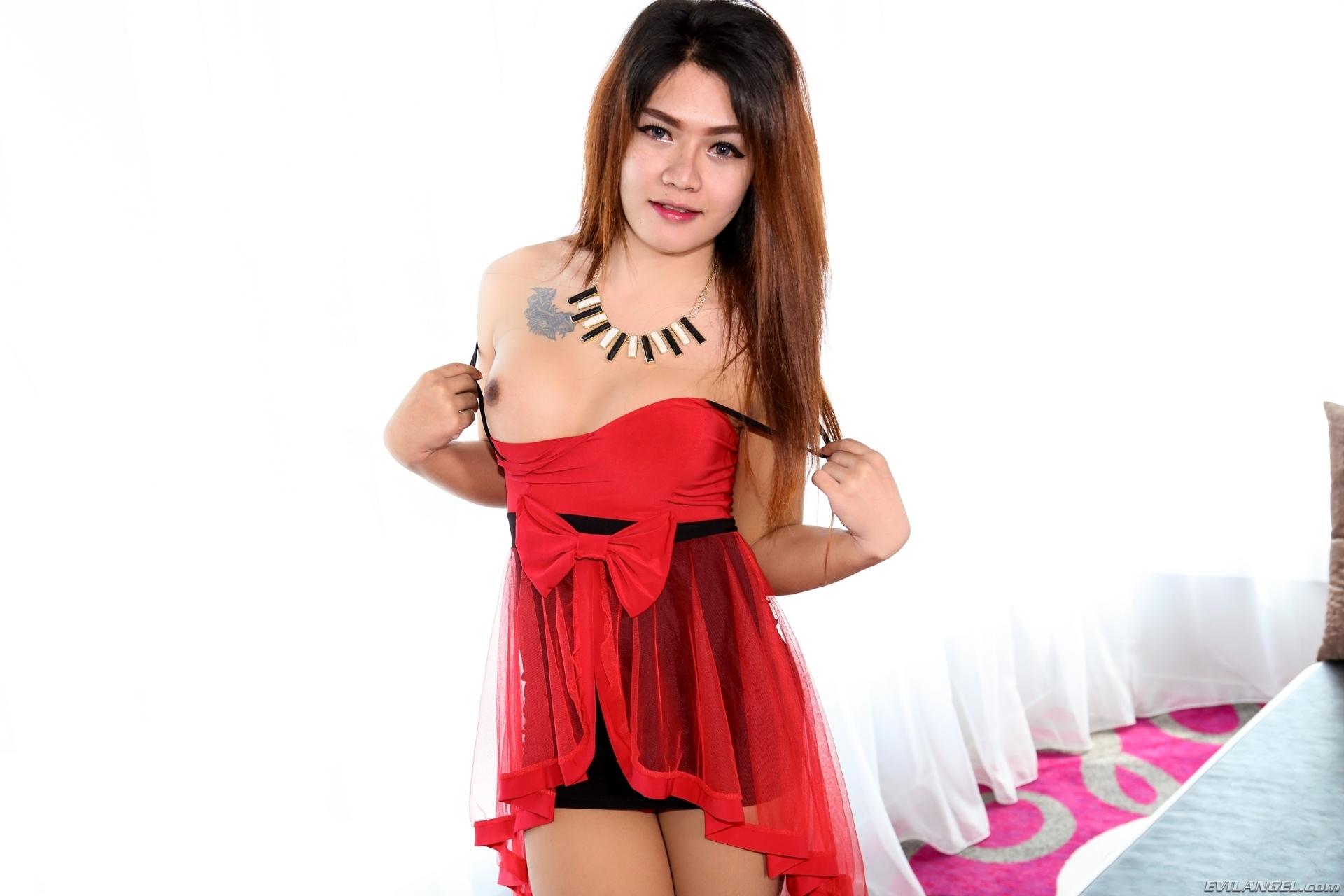 T-Girl Yoghurt Teasing In Red Skirt