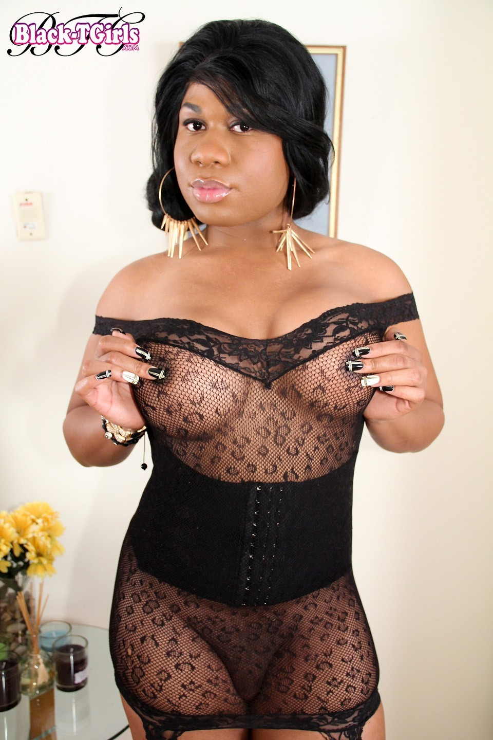 tgirl asia hilton in black lace