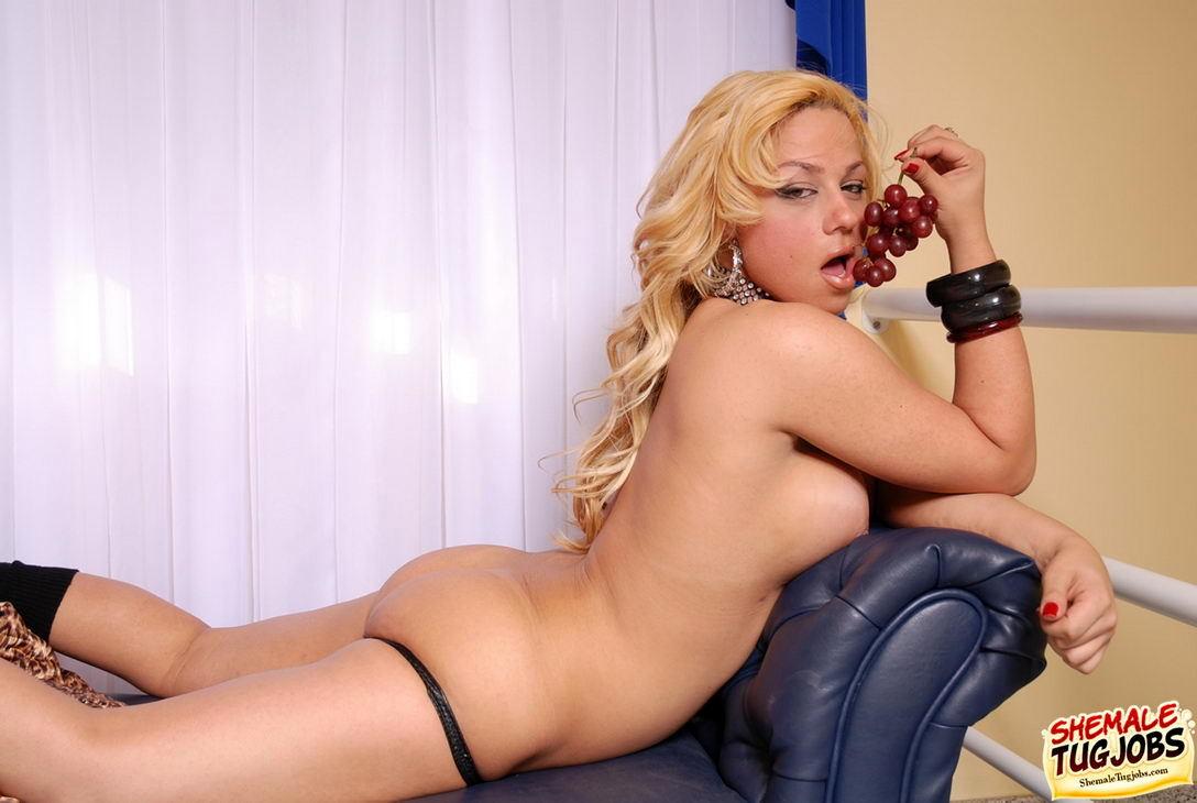 Tgirl Bruna Gabana Gets Naked While Eating Grapes