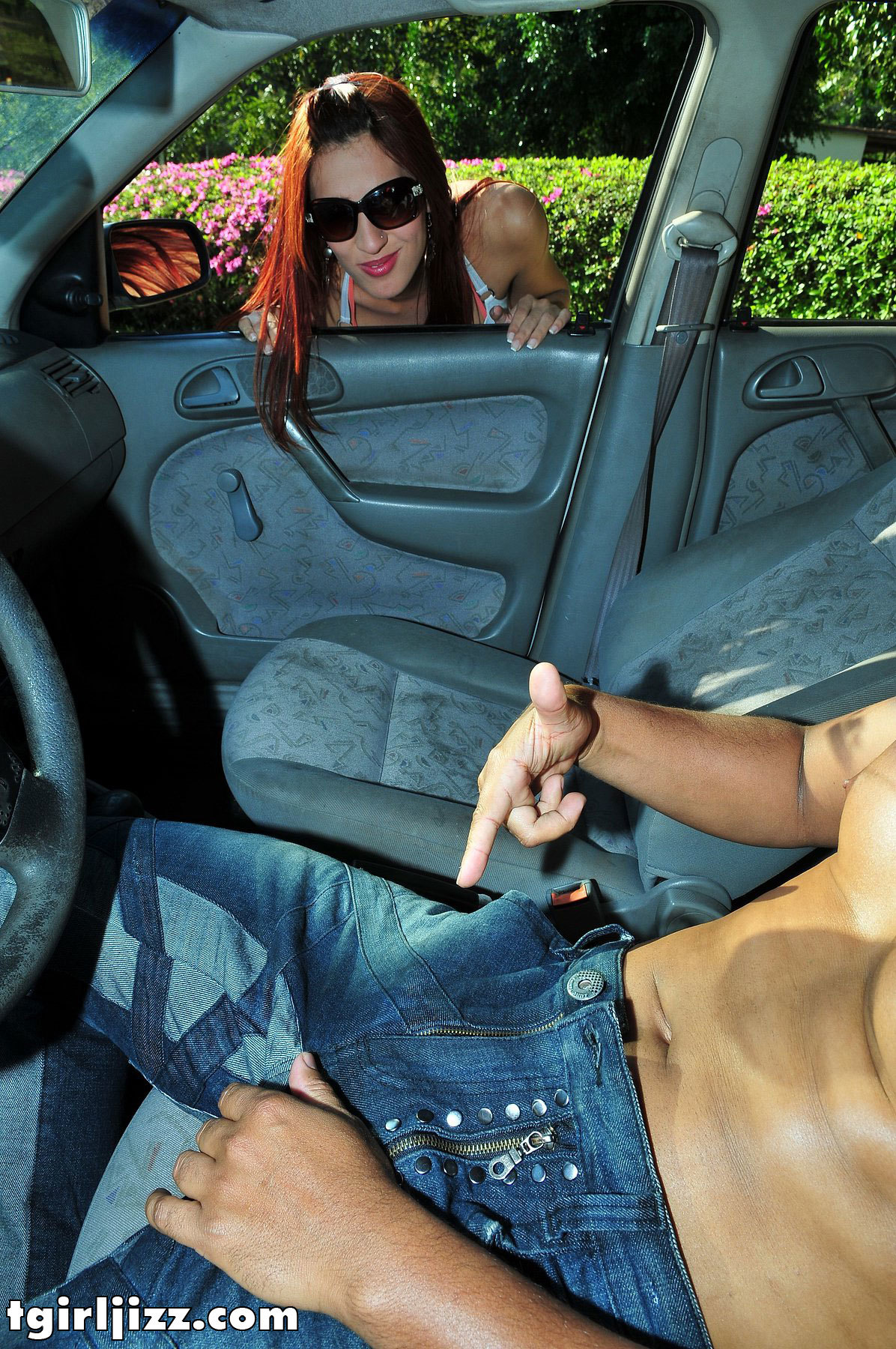 Tranny Sucks Penis In A Car