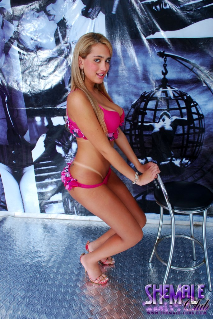 Transexual Nathalia Ruiz Pink Swimsuit