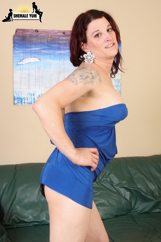 Trixie Turner Posing In Blue Skirt