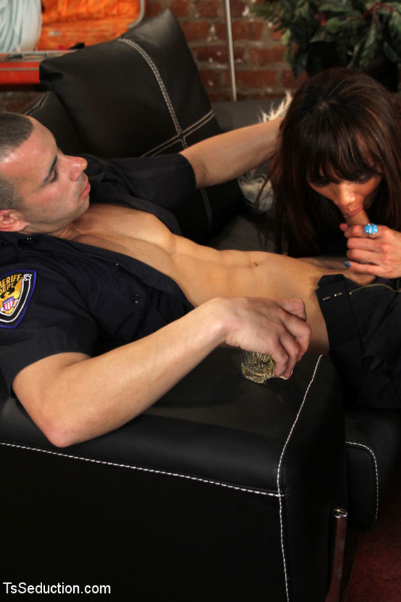 yasmine lee giving titillating blowjob to an officer